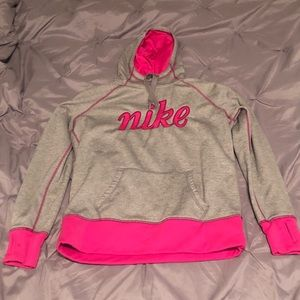 Nike Therma-Fit Gray/Pink Hoodie W/Thumb Holes (L)